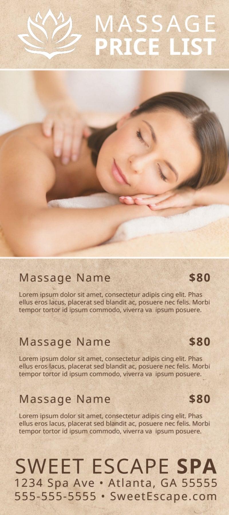 Elegant Massage Price List Flyer Template Preview 2
