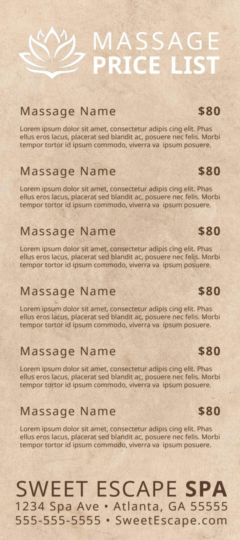 Elegant Massage Price List Flyer Template Preview 3