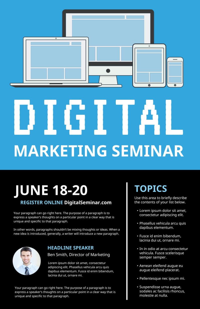 Digital Marketing Seminar Poster Template