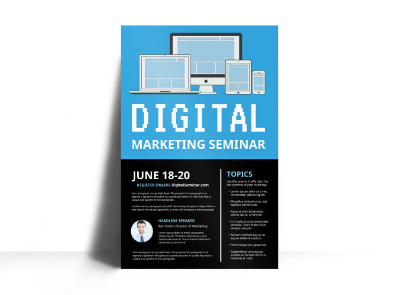 Digital Marketing Seminar Poster Template Preview 3