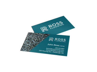 Teal Flooring Business Card Template preview