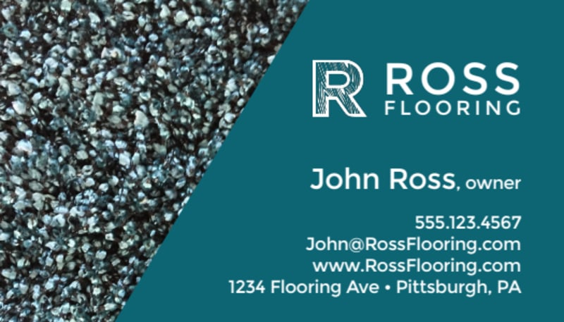 Teal Flooring Business Card Template Preview 2
