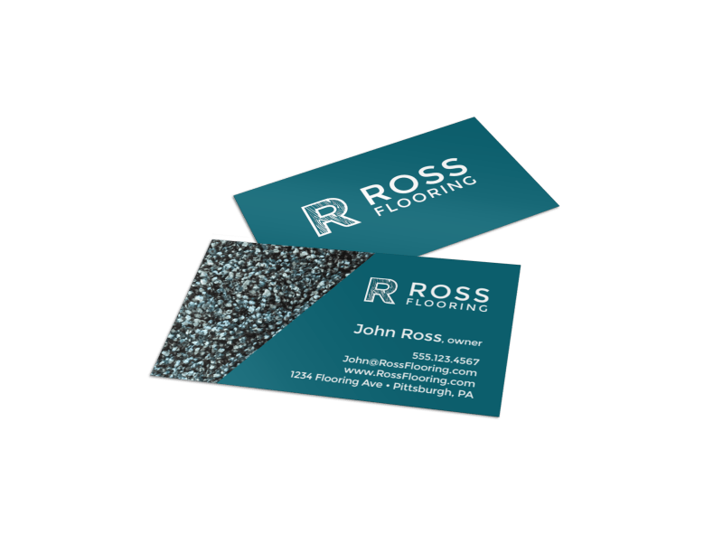 Teal Flooring Business Card Template Preview 1