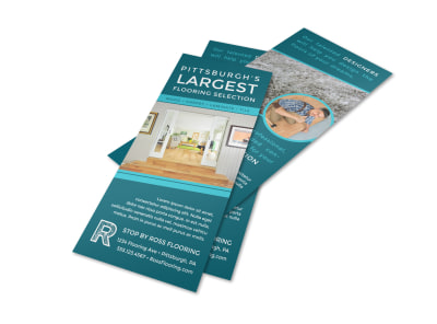 Teal Flooring Advertising Flyer Template preview