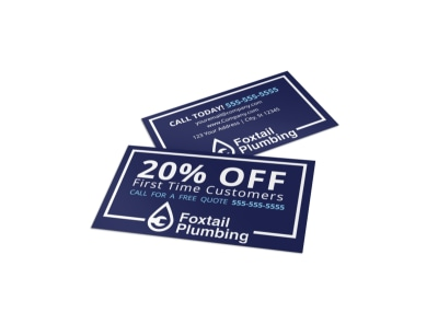 Plumbing Discount Business Card Template preview