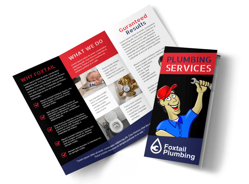 Plumbing Services Tri-Fold Brochure Template Preview 4
