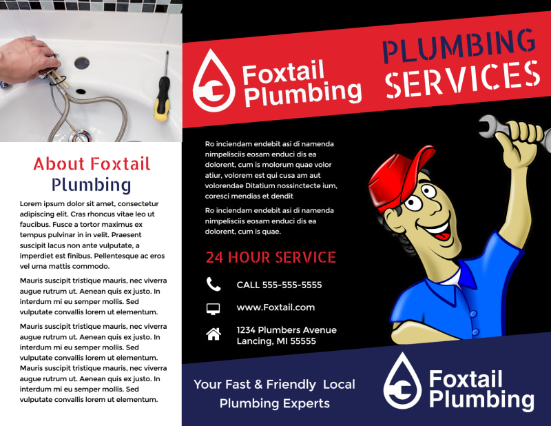 Plumbing Services Tri-Fold Brochure Template Preview 2