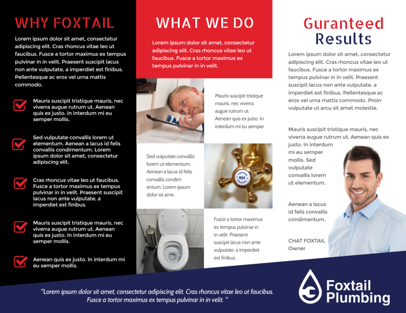 Plumbing Services Tri-Fold Brochure Template Preview 3