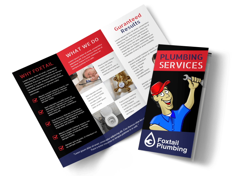 Plumbing Services Tri-Fold Brochure Template Preview 1