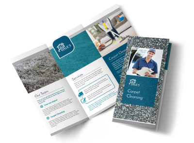Simple Carpet Cleaning Tri-Fold Brochure Template preview