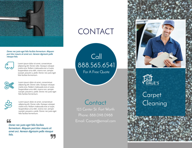 Simple Carpet Cleaning Tri-Fold Brochure Template Preview 2