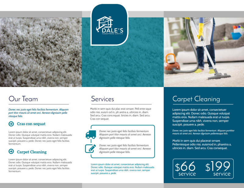 Simple Carpet Cleaning Tri-Fold Brochure Template Preview 3