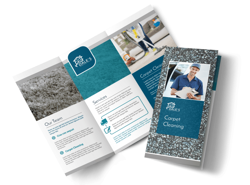 Simple Carpet Cleaning Tri-Fold Brochure Template Preview 1