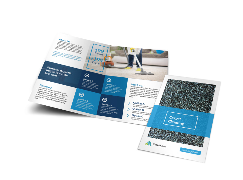 Classic Carpet Cleaning Bi-Fold Brochure Template