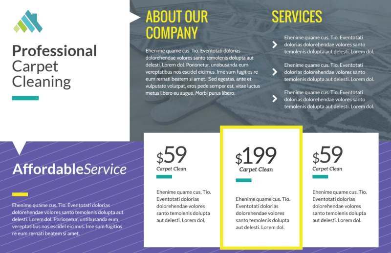 Carpet Cleaning Pricing Postcard Template Preview 2
