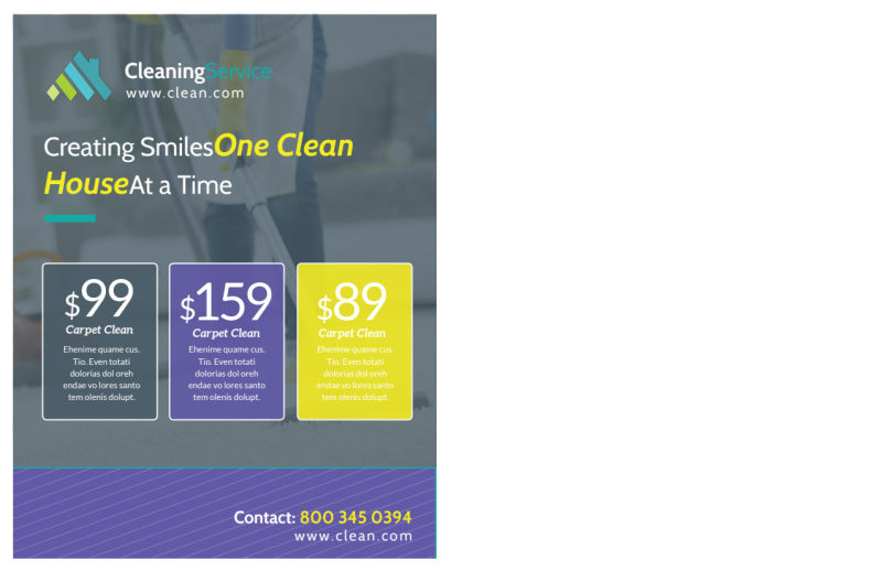 Carpet Cleaning Pricing Postcard Template Preview 3