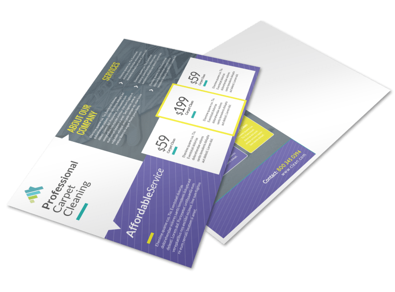Carpet Cleaning Pricing Postcard Template Preview 1