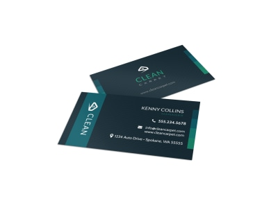 Dark Carpet Cleaning Business Card Template preview