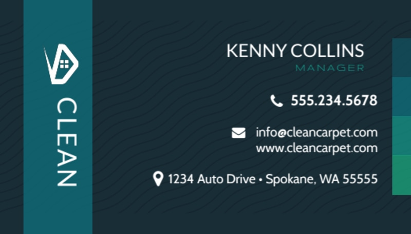 Dark Carpet Cleaning Business Card Template Preview 2