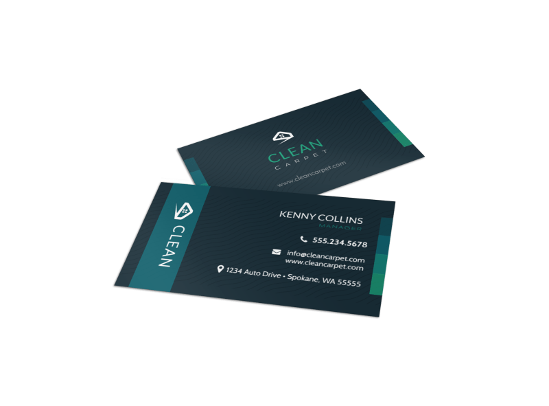 Dark Carpet Cleaning Business Card Template Preview 1
