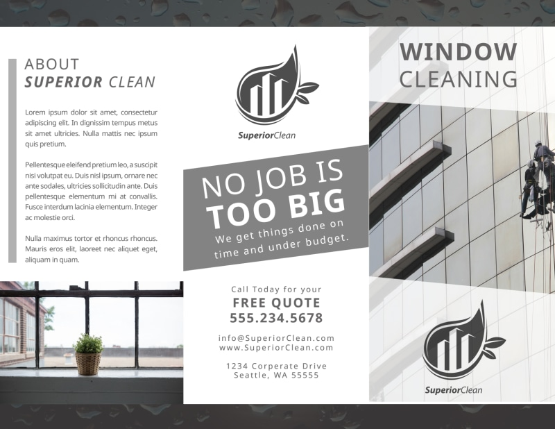 Black & White Window Cleaning Tri-Fold Brochure Template Preview 2