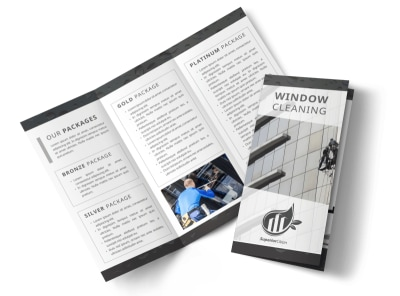 Black & White Window Cleaning Tri-Fold Brochure Template preview