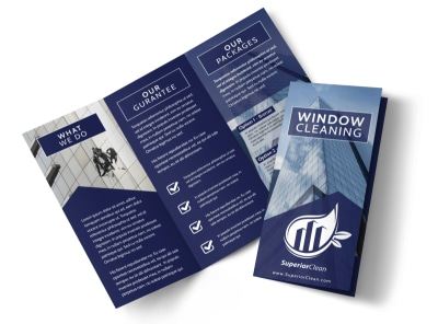 Super Window Cleaning Tri-Fold Brochure Template preview