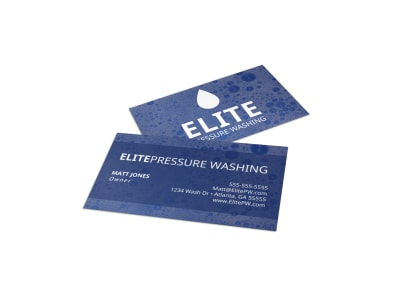 Blue Pressure Washing Business Card Template preview