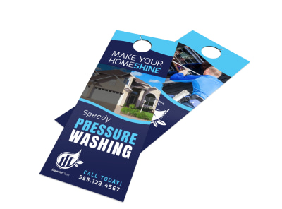 Blue Pressure Washing Door Hanger Template preview