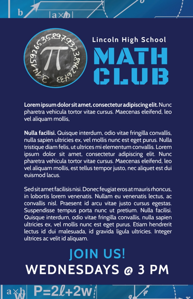 Math Club Flyer Template Preview 3