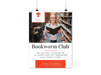 Bookworm Club Poster Template preview