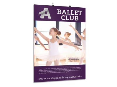 School Ballet Club Poster Template preview