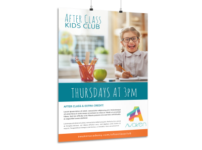 After Class Kids Club Poster Template preview