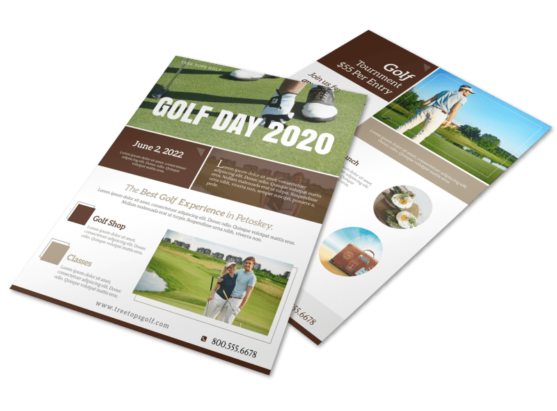 Golf Day Tournament Flyer Template Preview 1
