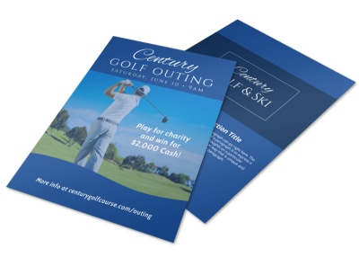 Blue Golf Outing Flyer Template preview