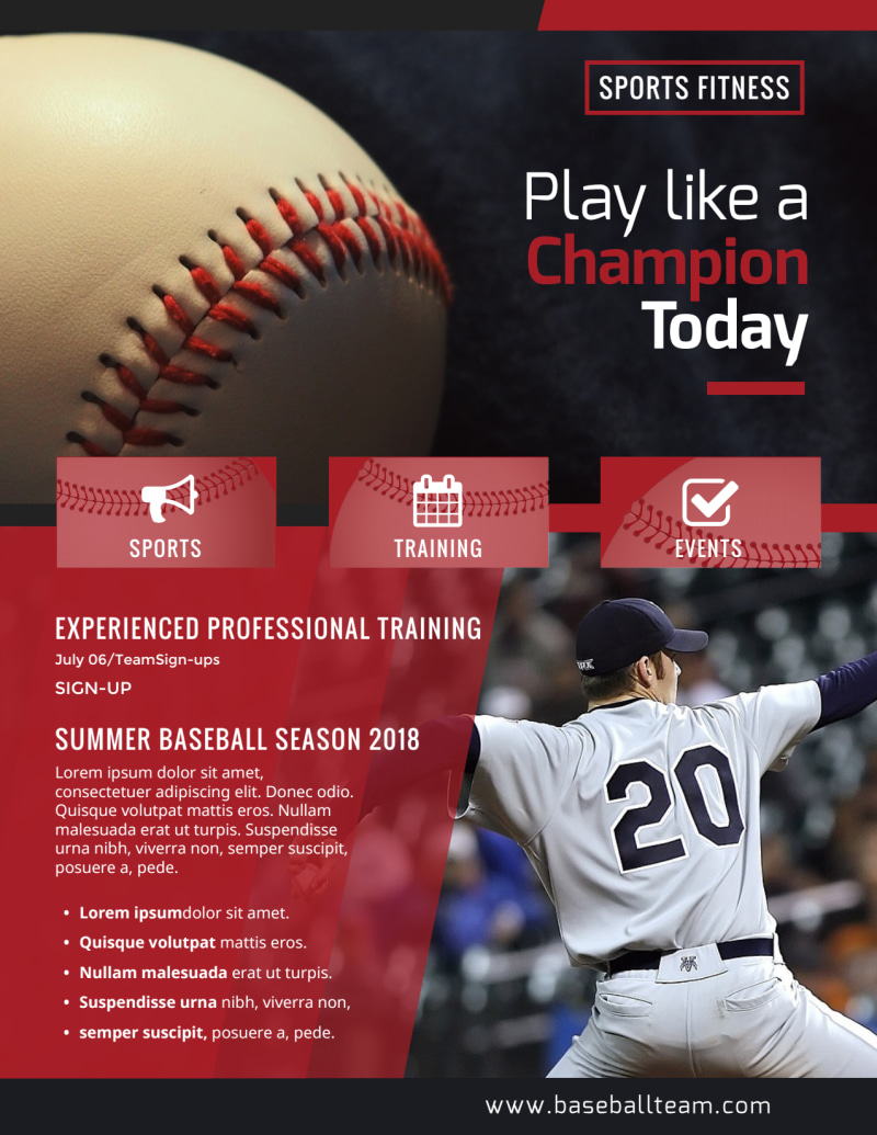 Baseball Sign Up Flyer Template Preview 2