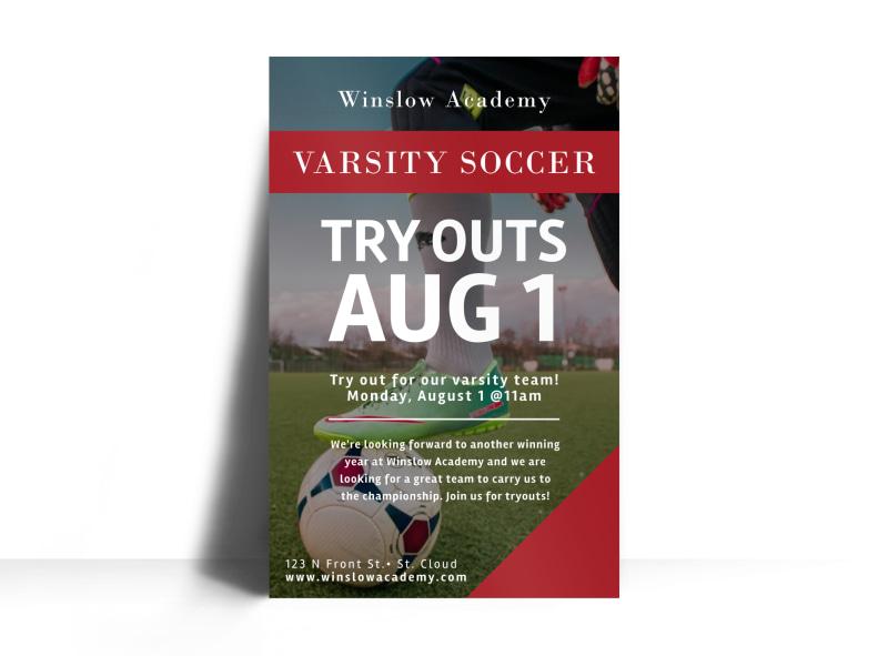 Soccer Try Outs Poster Template