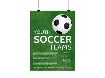 Youth Soccer Team Poster Template preview