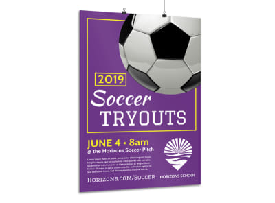 Soccer Tryouts Poster Template preview