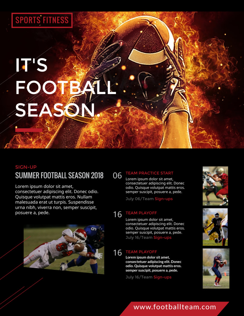 Black & Red Football Flyer Template Preview 2