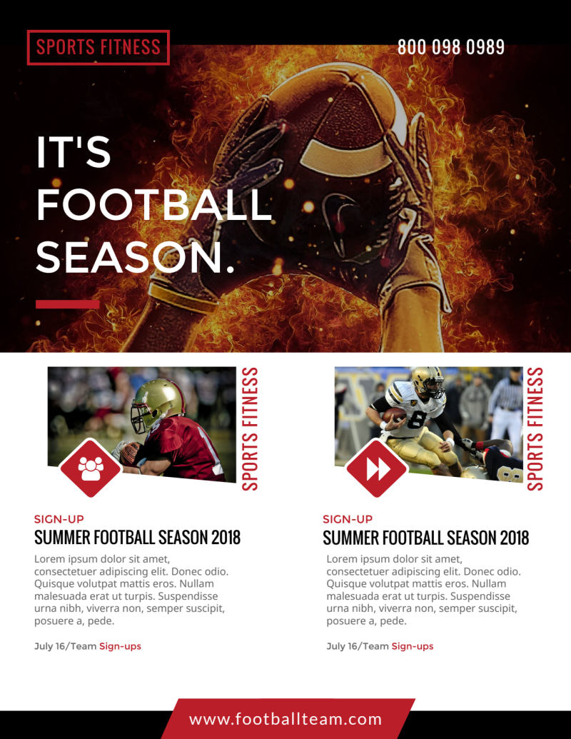 Black & Red Football Flyer Template Preview 3