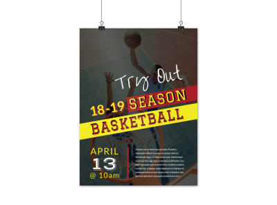 Basketball Try Outs Poster Template preview