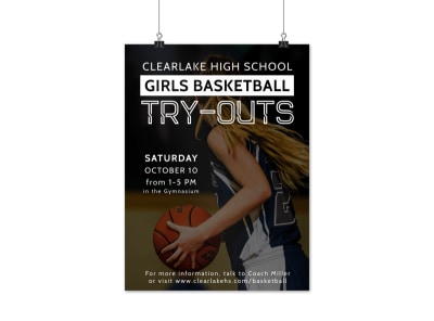 Girls Basketball Try-Outs Poster Template preview