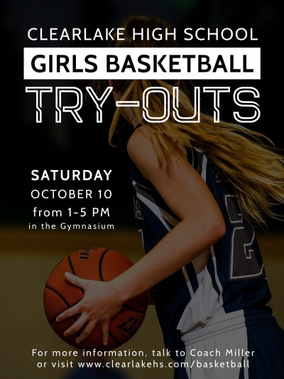 Girls Basketball Try-Outs Poster Template Preview 1