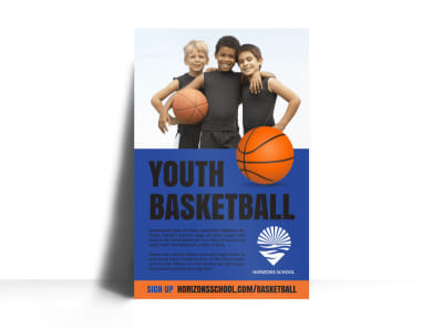 Youth Basketball Poster Template preview