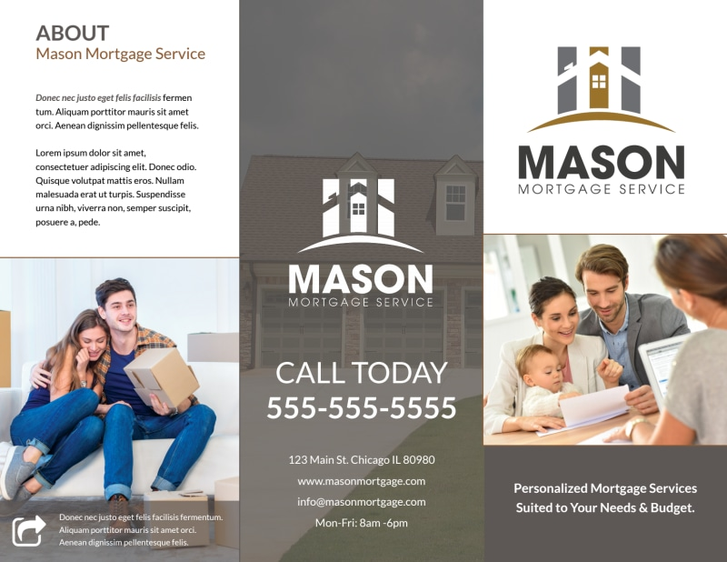 Mortgage Service Tri-Fold Brochure Template Preview 2