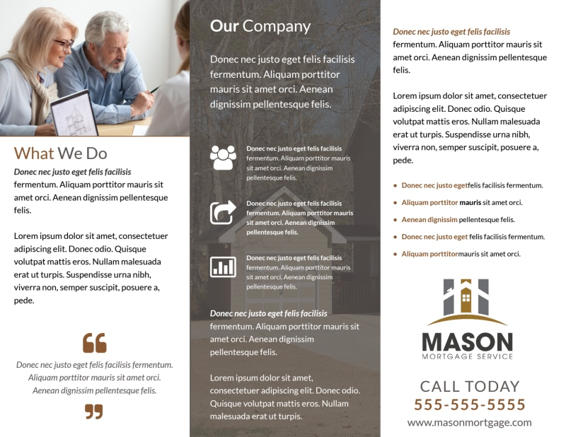 Mortgage Service Tri-Fold Brochure Template Preview 3