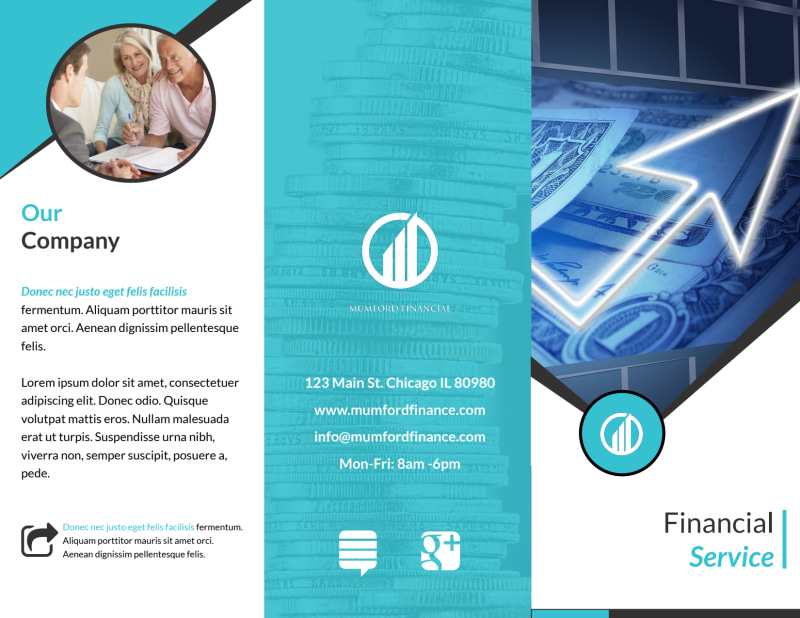 Financial Advisor Service Tri-Fold Brochure Template Preview 2