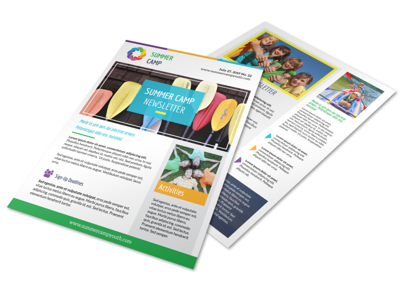summer church camp newsletter template mycreativeshop