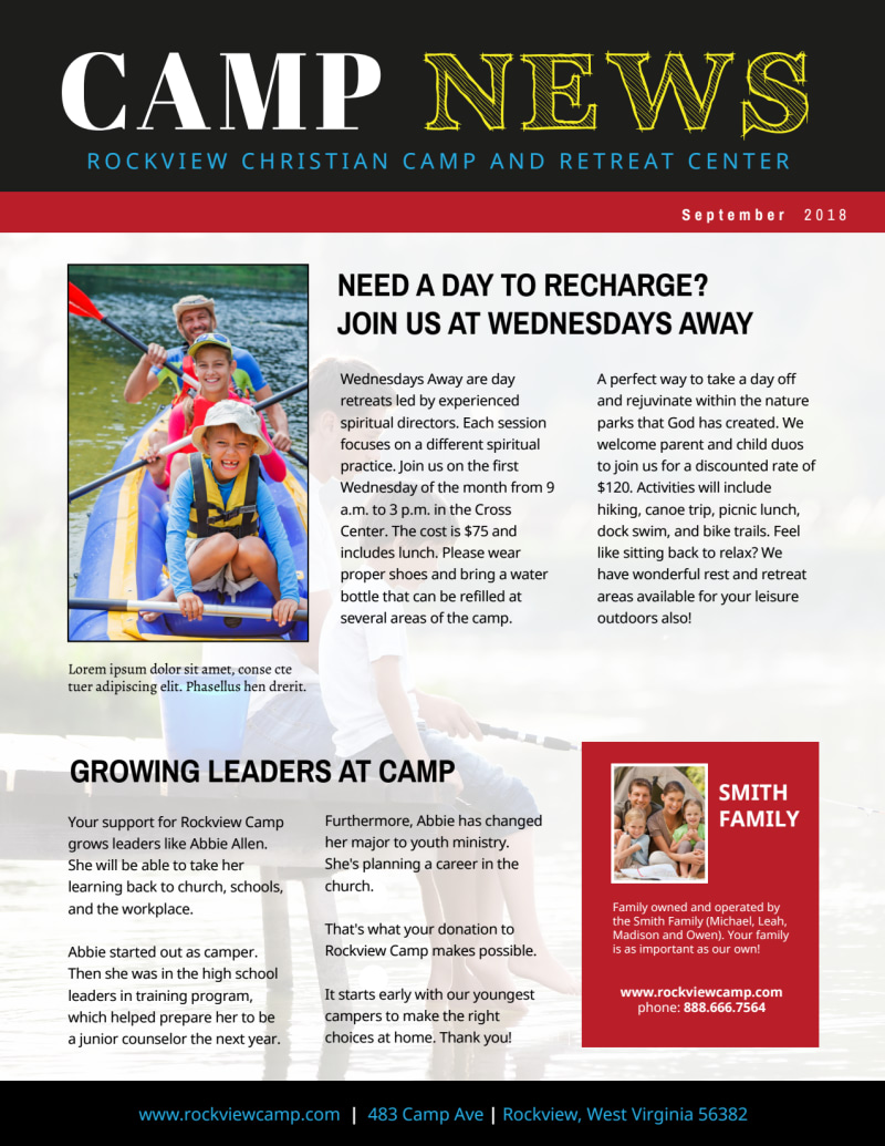 Playful Church Camp Newsletter Template Preview 2